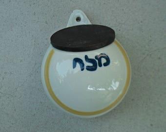 Wall mounted Lapid salt container / salt cellar/ ceramic salt celler .Lapid Israel 1960s -70s.