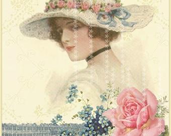 Vintage Paris French lady Ephemera pink Roses and Blue forget me nots digital download ECS buy 3 get one free single image
