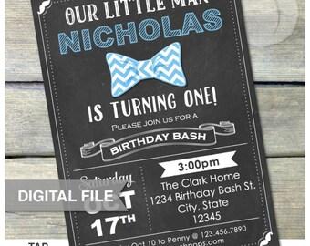 "Little Man Birthday Invitation Chalkboard Invite Baby Boy Bowtie Birthday Bash - Any Age - 5"" x 7"" Digital Invite"