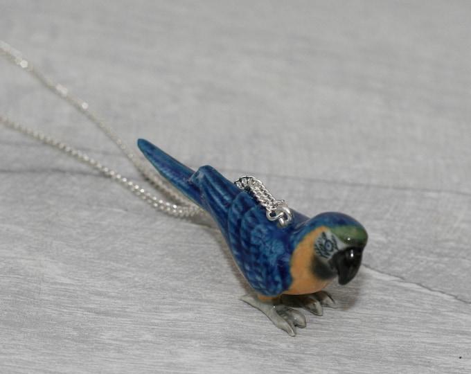 Porcelain Bird Necklace, Blue Parrot Macaw Necklace, Animal Necklace