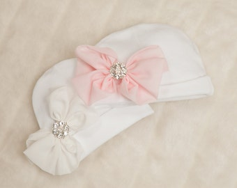 White Infant Baby Girl Beanie Hat with Chiffon Bow and Rhinestone