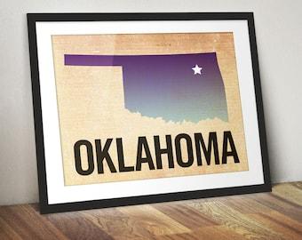 Oklahoma Print, State Print OK, Oklahoma Ombre Print, Burlap, Ombre, Oklahoma Art, Tulsa Print