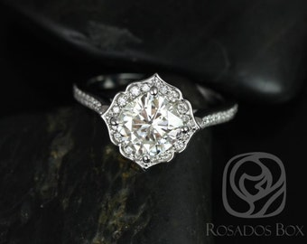 Rosados Box Rori 7mm 14kt White Gold Cushion F1- Moissanite and Diamond Kite Halo WITHOUT Milgrain Engagement Ring