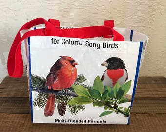 Small Bird Food Lunch Tote Bag Purse - Recycled Upcycled Reusable