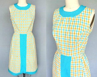 criss cross / 1960s bright yellow and blue plaid day dress / 10 12 medium