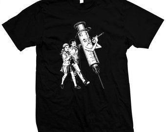 Pied Piper Syringe - Hand Made 100% cotton silk screened t-shirt - Drugs - Heroin Chic