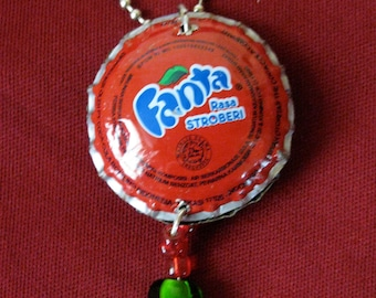 Red Recycled bottle cap necklace