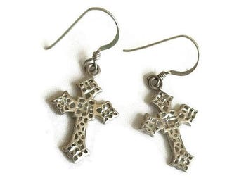 Silver Tone Cross Dangle Earrings Vintage Pierced Metal