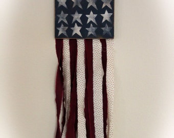 "American Patriotic Rag Flag Wall Art -  9-1/2"" x 30"""