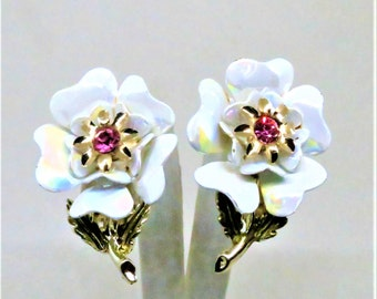 Floral Earrings - Vintage, Coro Signed, Gold Tone, Opalescent Petals, Pink Rhinestone, Clip on