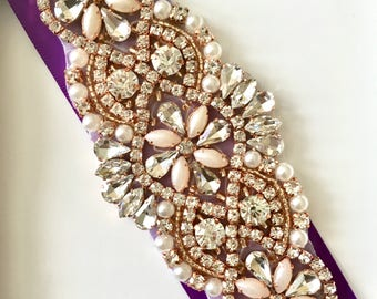 Purple Wedding Belt, Purple Bridal Belt, Purple Bridesmaid Belt, Purple Wedding Sash, Purple Bridal Sash, Rose Gold Rhinestone Belt Sash