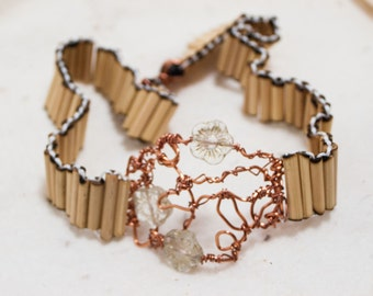 Woven Bamboo Copper and Glass Choker Necklace with Flower Themed Focal - Stopping by Woods - Art Jewelry by Sarah McTernen