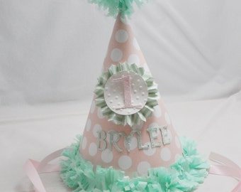 Pink and Mint Green Birthday Hat, 1st Birthday Girl, Personalized Party Hat, First Birthday Girl, Photo Prop, Party decor, Smash Cake Hat