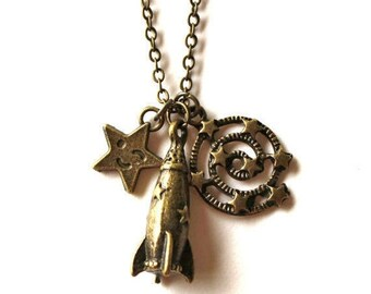Clearance sale Antique bronze spaceship rocket, star and milky way galaxy charm necklace LAST ONE