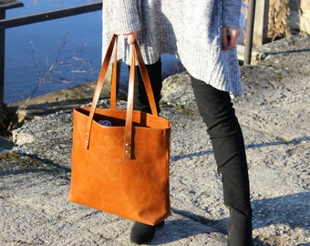 Leather Tote Bag, large tote bag, handmade leather bag