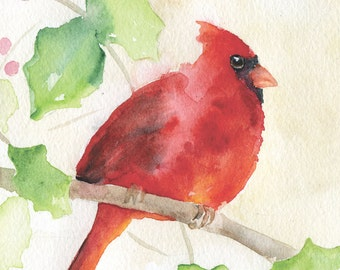 Cardinal Watercolor Greeting Card - 5 x 7
