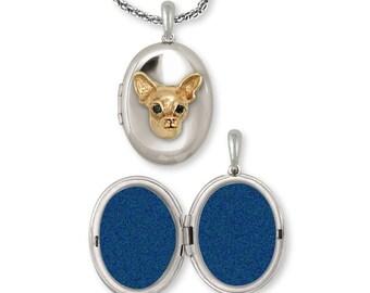 Chihuahua Photo Locket Jewelry Silver And Gold Handmade Dog Photo Locket CH-SVG
