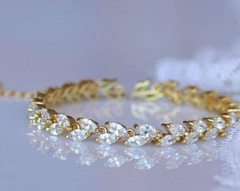 Crystal Bridal Bracelet, Gold Bracelet, Gold Tennis Bracelet, Crystal Bridal Jewelry, HAYLEY G