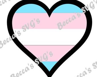 4 color/layer Transgender pride flag heart