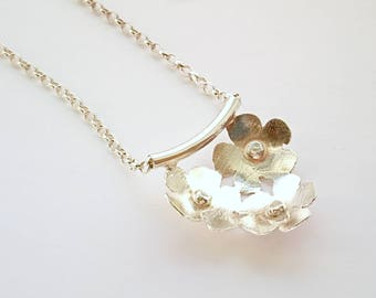 SALE   Sterling silver flower pendant