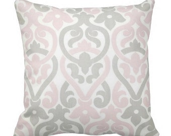 throw pillows, decorative pillows for couch, cushion cover, pink rocking chair cushion, shower gift, grey pink pillow, 12x18 in pillow cover