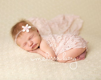 Stretch Lace Wrap Baby Pink Newborn Photography Prop Baby Swaddle