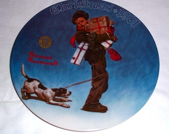Knowles Norman Rockwell Collectors' Plate Wrapped Up In Christmas - 1981 Limited Edition Christmas Plate