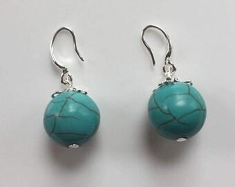 Natural Turquoise Earrings December Birthstone