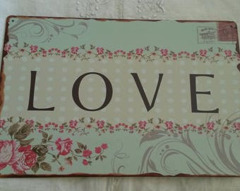 Shabby chic and romantic metal sign / / decorative wall postcard