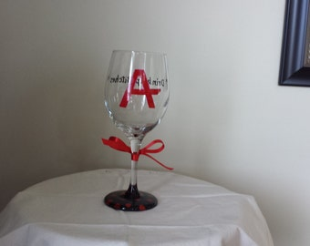 Pretty Little Liars Hand Painted Wine Glass,  PLL Wine Glass