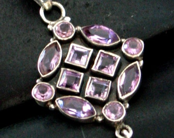 Multiple Faceted Stones - Amethyst Encrusted Pendant in Sterling Silver .925 - February Birthstone - India Inspired Design -