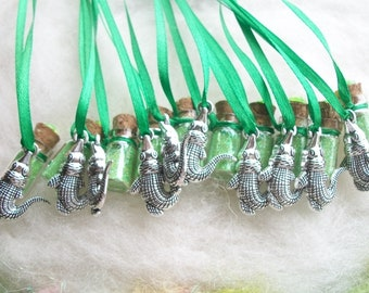 Crocodile Party Favors 10 Pixie Glitter Sparkle Necklaces, Happy Birthday Party Favor Pirate Party Favor Necklace