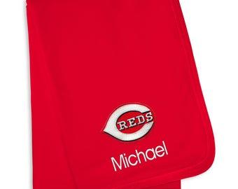 Personalized Cincinnati Reds Baby Blanket Red
