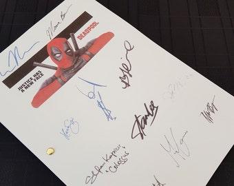 Deadpool Film Movie Script with Signatures / Autographs Reprint Marvel Superhero Ryan Reynolds Unique Gift Present Screenplay Geek