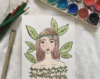 "Illustrated Watercolor Portrait Print - ""Fauna"""