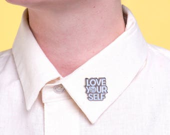 Love Yourself Enamel Pin - Silver