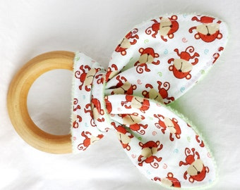 Natural Wooden Teether with Crinkles - Mini Monkeys with Minky Dot - New Baby Gift - Natural Teething