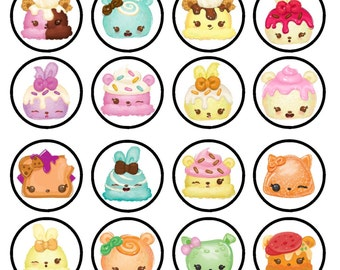 Num Noms Edible Wafer Rice Paper Cake Cupcake Toppers x 24 PRECUT