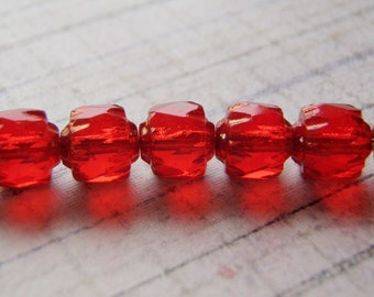 Red Cathedral Beads Czech Glass 6mm Crown 10 Beads