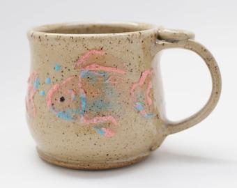 Fish Mug, Ready To Ship, Pink and Blue Fish Mug
