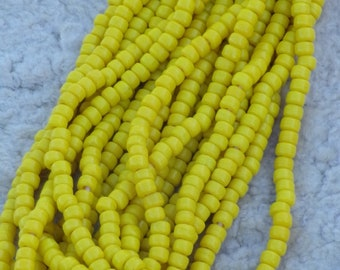 Yellow glass crow beads, opaque 9mm glass beads, beads for decorating,  for diy projects, yellow beads, beads , bead craft