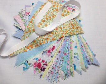 Shabby Chic Bunting Making Kit will make 5 metres with large 9 inch flags & cotton tape, ideal for weddings, bridal baby showers parties