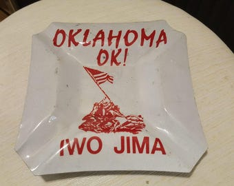 Vintage pressed metal Iwo Jima ashtray