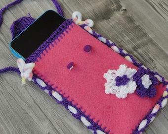 Pink floral mobile phone case, handmade crochet smartphone case, purse, little bag