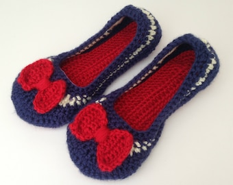 Womens crochet nautical slippers. Independence day slippers. crochet house shoes.