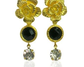 Gold flower and jet earrings, long glamour earrings, gift for her, black crystal earrings, black and gold earrings, Art deco earrings