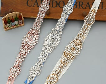 Vintage Rhinestone Crystal Bridal Sash / Wedding Sash/ Bridal Belt