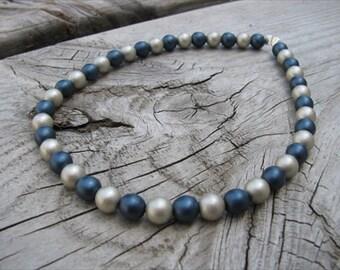 Deep Blue and Cream Beaded Ankle Bracelet
