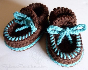 Crochet Pattern: Baby Moccasin Booties, unisex boy girl shoes