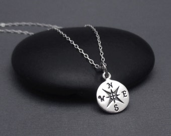 Sterling Silver Compass Necklace, Compass Charm Pendant With Sterling Chain, Graduation Gift, Travel Jewelry, Good Luck,